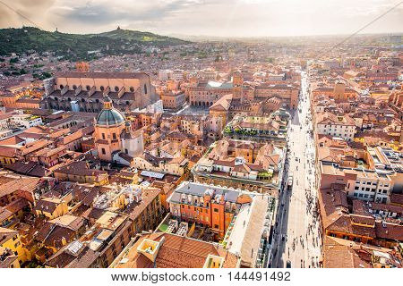 Aerial cityscape view from the tower on Bologna old town in Italy