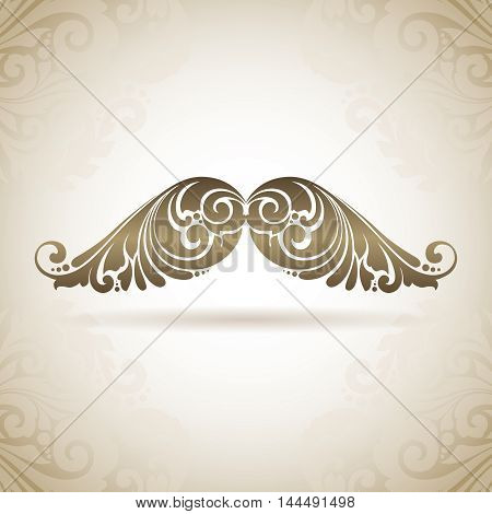 Vintage ornamental moustache man. Decorative isolated hipster logo icon on a background with pattern