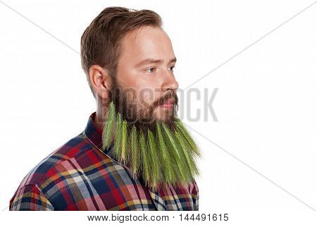 Portrait of handsome man with beard of spikelets isolated on white