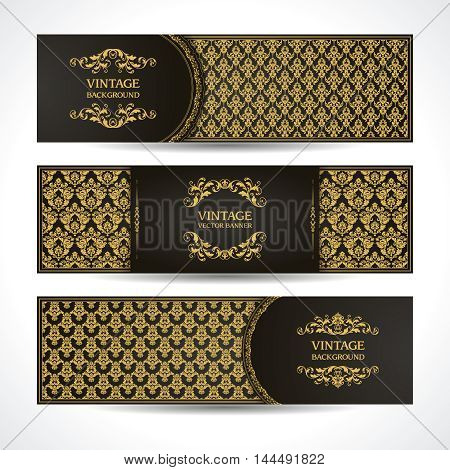 Black and gold banners VIP Vintage ornamental template with damask pattern and decorative frame. Invitation design, Greeting Card