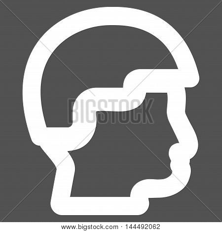 Sergeant Head vector icon. Style is outline flat icon symbol, white color, gray background.