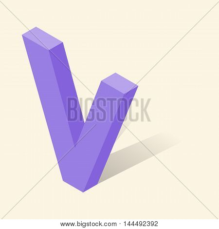 V letter in isometric 3d style with shadow. Violet V letter vector illustration