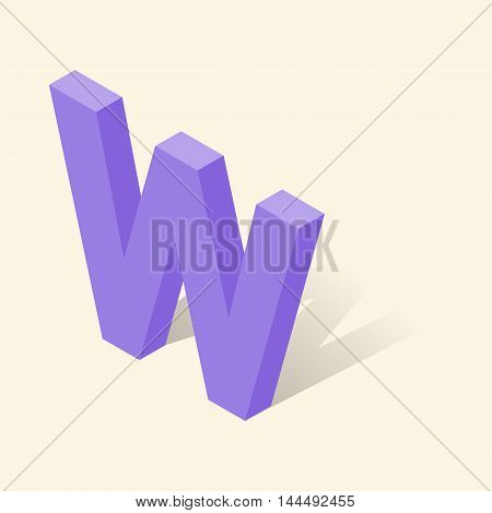 W letter in isometric 3d style with shadow. Violet W letter vector illustration
