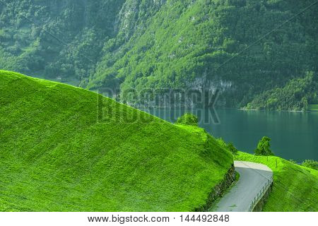Path on green hill with lake and mountain in background - Country road on the side of a green grassy hill with the lake and swiss forest in the background. Picture taken in a small village called Unterterzen Switzerland.