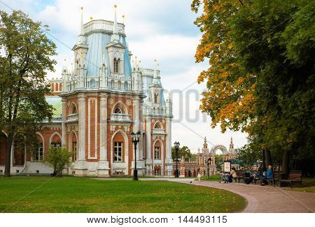 MOSCOW - SEPTEMBER 15 2015: The grand palace in Tsaritsyno park. The ensemble was built by Bazhenov and Kazakov in 18th century.