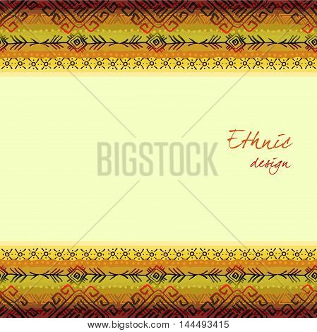 Horizontal seamless border frame with tribal stripe ornament in light background. Geometric ethnic colorful design. Vector illustration stock vector.