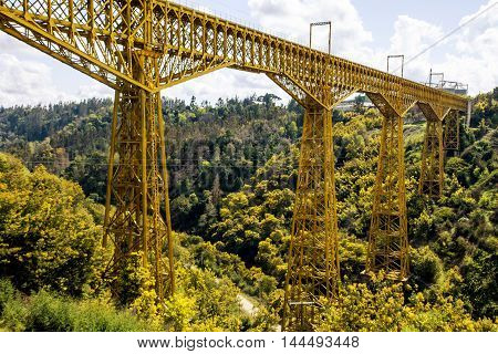 Malleco Viaduct, railway bridge in Chile mountains