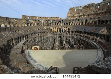 Rome Italy - may 25 2016 : People are visiting Colosseum. Colosseum the most well-known and remarkable landmark of Rome and Italy