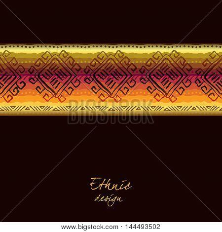 Darck horizontal seamless border with tribal stripe ornament in black background. Geometric ethnic colorful design. Vector illustration stock vector.