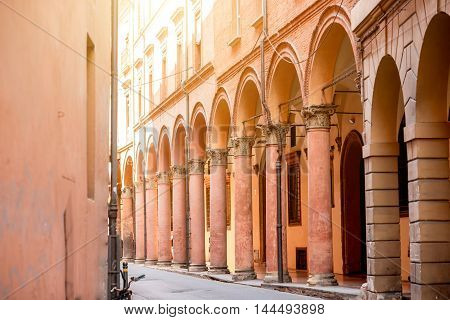 Street view with gallery in Bologna city in Italy