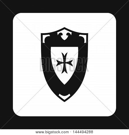 Shield icon in simple style isolated on white background. War symbol