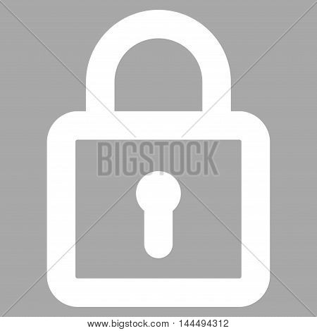 Lock vector icon. Style is linear flat icon symbol, white color, silver background.