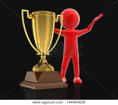 3D Illustration. Man and Trophy Cup. Image with clipping path