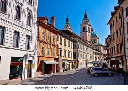 Old town of Ljubljana street and architecture capital of Slovebia