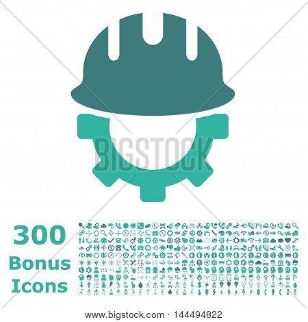 Development Hardhat icon with 300 bonus icons. Vector illustration style is flat iconic bicolor symbols, cobalt and cyan colors, white background.