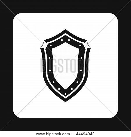 Protective shield with pattern icon in simple style isolated on white background. War symbol
