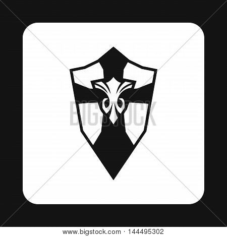 Combat shield with pattern icon in simple style isolated on white background. War symbol