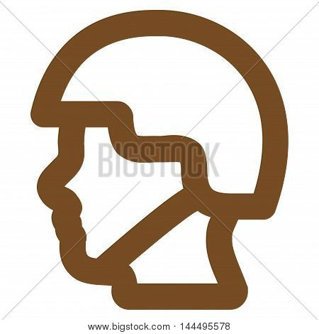 Soldier Head vector icon. Style is stroke flat icon symbol, brown color, white background.