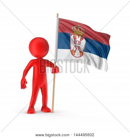 3D Illustration. Man and Serbian flag. Image with clipping path
