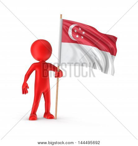 3D Illustration. Man and Singapore flag. Image with clipping path