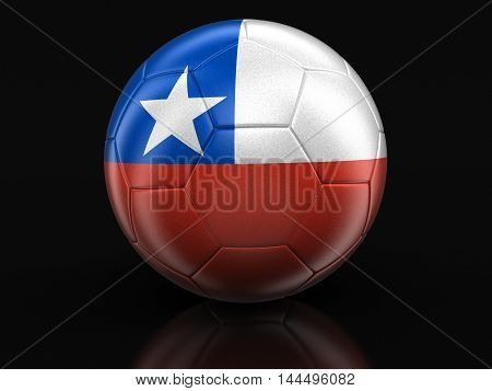3D Illustration. Soccer football with Chilean flag. Image with clipping path