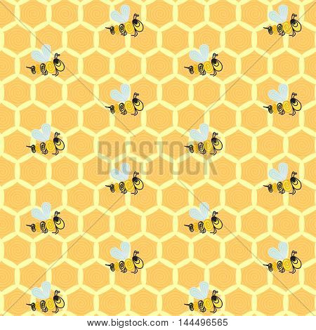 Seamless background pattern with yellow honeycombs and repeating bees. Vector illustration eps 10