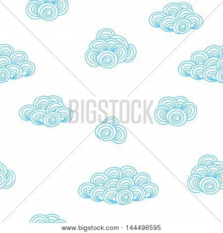 Seamless background pattern with blue clouds on the white fond. Vector illustration eps 10