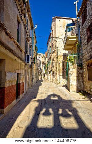 Old narrow stone street of Vis view Dalmatia Croatia