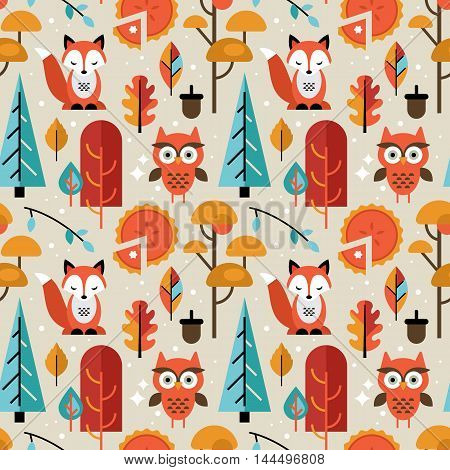 Autumn Seamless Pattern With Animals And Trees For Graphic And Web Design