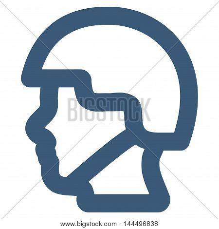 Soldier Head vector icon. Style is outline flat icon symbol, blue color, white background.