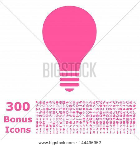Bulb icon with 300 bonus icons. Vector illustration style is flat iconic symbols, pink color, white background.