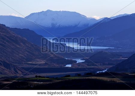 Aerial view of a valley among mountains in New Zealand
