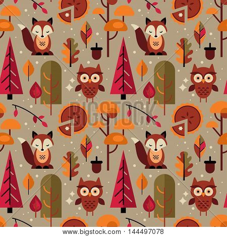 Fall Seamless Pattern With Autumn Trees And Cute Forest Animals For Graphic And Web Design