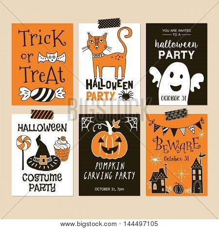 Halloween Holiday Party Invitation Template Set. Hand Drawing Vector Illustration