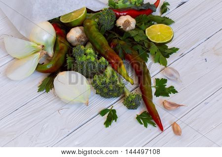 Set Of Vegetables On White Wooden Background