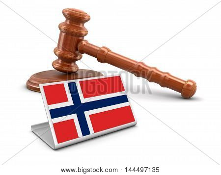 3D Illustration. 3d wooden mallet and Norwegian flag. Image with clipping path