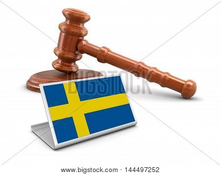3D Illustration. 3d wooden mallet and Swedish flag. Image with clipping path