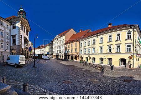 Ljubljana city hall and square view capital of Slovenia