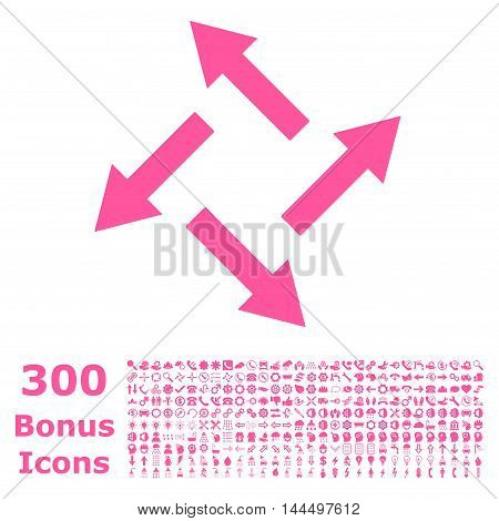 Centrifugal Arrows icon with 300 bonus icons. Vector illustration style is flat iconic symbols, pink color, white background.