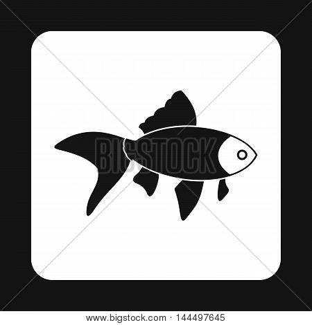 Goldfish icon in simple style isolated on white background. Inhabitants aquatic environment symbol