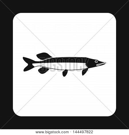 Pike fish icon in simple style isolated on white background. Inhabitants aquatic environment symbol