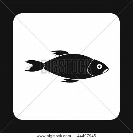 Fish icon in simple style isolated on white background. Inhabitants aquatic environment symbol