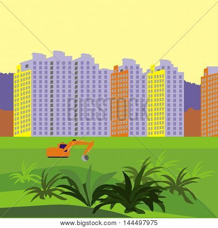Vector illustration about construction of a new neighborhood of territory with working excavator sunset
