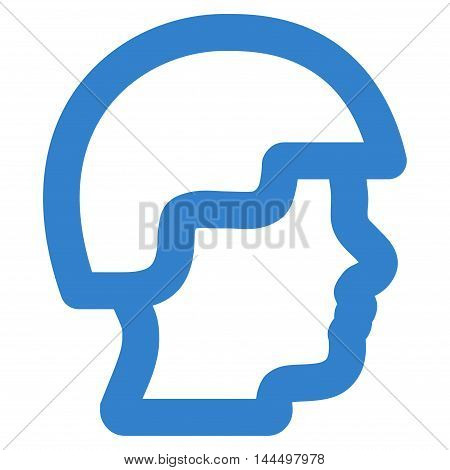Soldier Head vector icon. Style is contour flat icon symbol, cobalt color, white background.