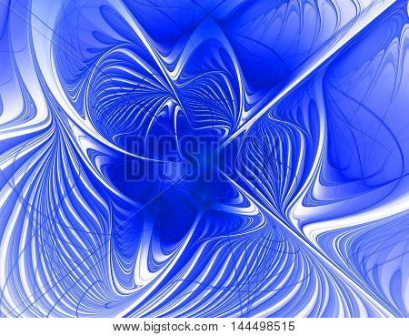 Abstract blue beautiful flower background fractal on bright background