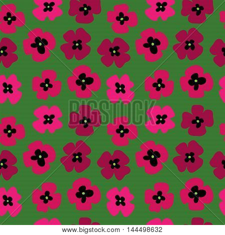 Seamless pattern with a poppies on a green background