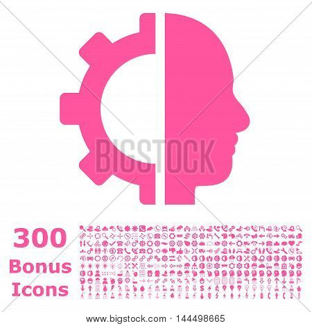 Cyborg Gear icon with 300 bonus icons. Vector illustration style is flat iconic symbols, pink color, white background.