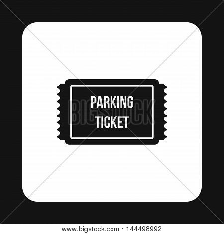 Parking ticket icon in simple style isolated on white background. Transport and service symbol