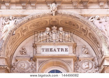 Beautiful detail of Avignon Opera Theater facade, south France