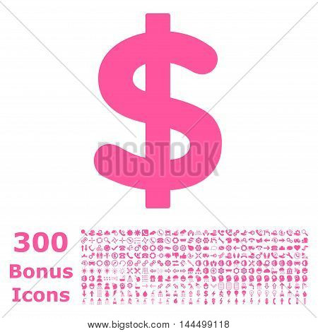 Dollar icon with 300 bonus icons. Vector illustration style is flat iconic symbols, pink color, white background.